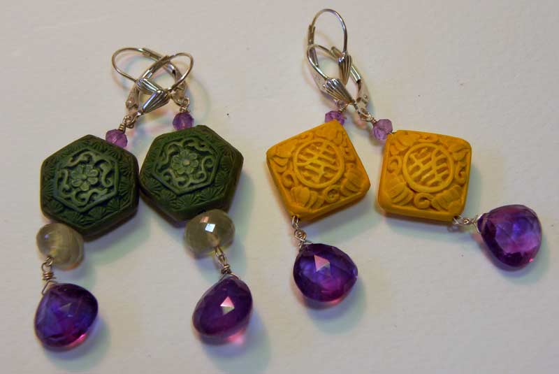 Cinnabar and Amethyst earrings