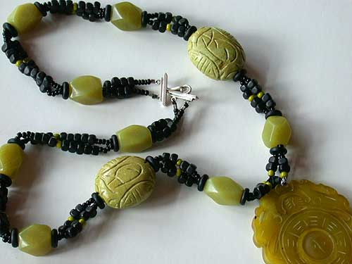 Yellow Jade pendant, yellow green turqoise and horn necklace